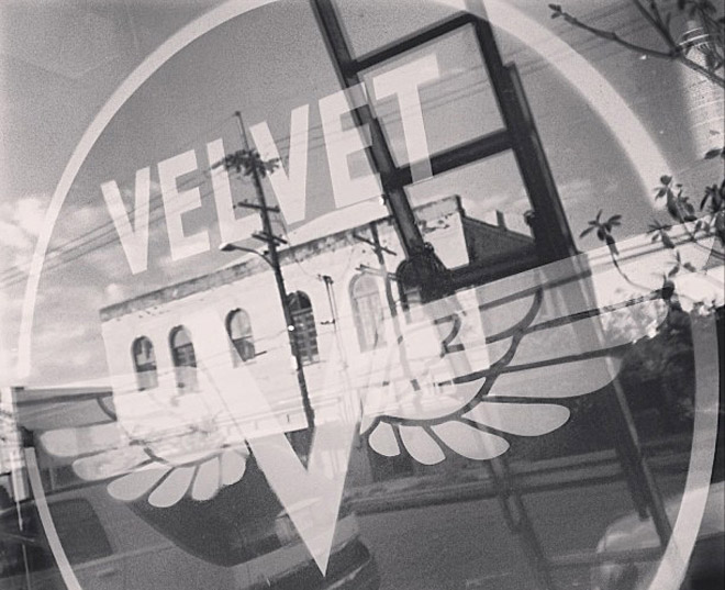Logo and window sign for Velvet Espresso Bar, design by Penina S. Finger