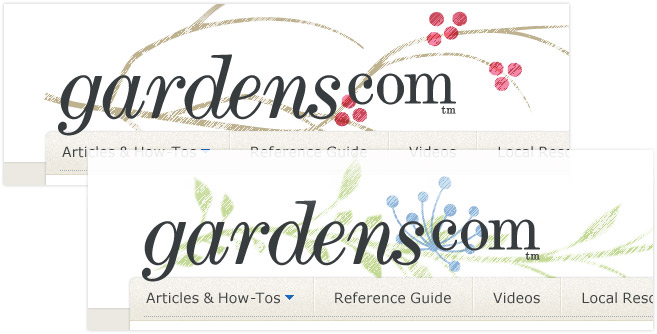 Logos for Gardens.com, designed by Penina S. Finger