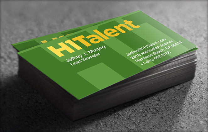 Business identity: H1Talent business cards, design by Penina S. Finger