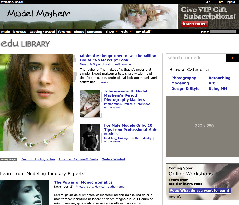 modelmayhem edu site design, library home page (cropped), design by Penina S. Finger
