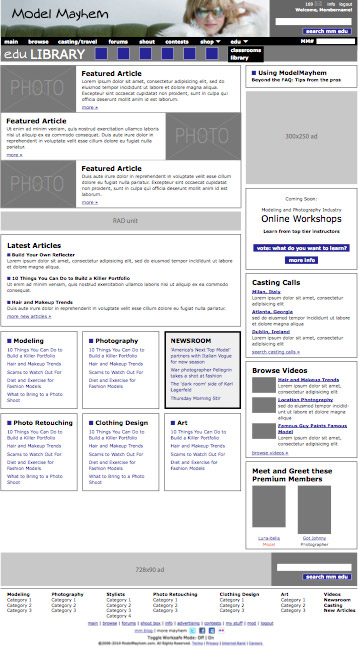 modelmayhem edu site design, library home page (wireframe 1)