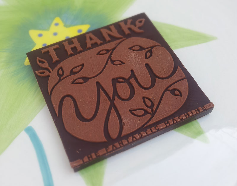 3D Printed Chocolate Thank You Card, design by Penina S. Finger