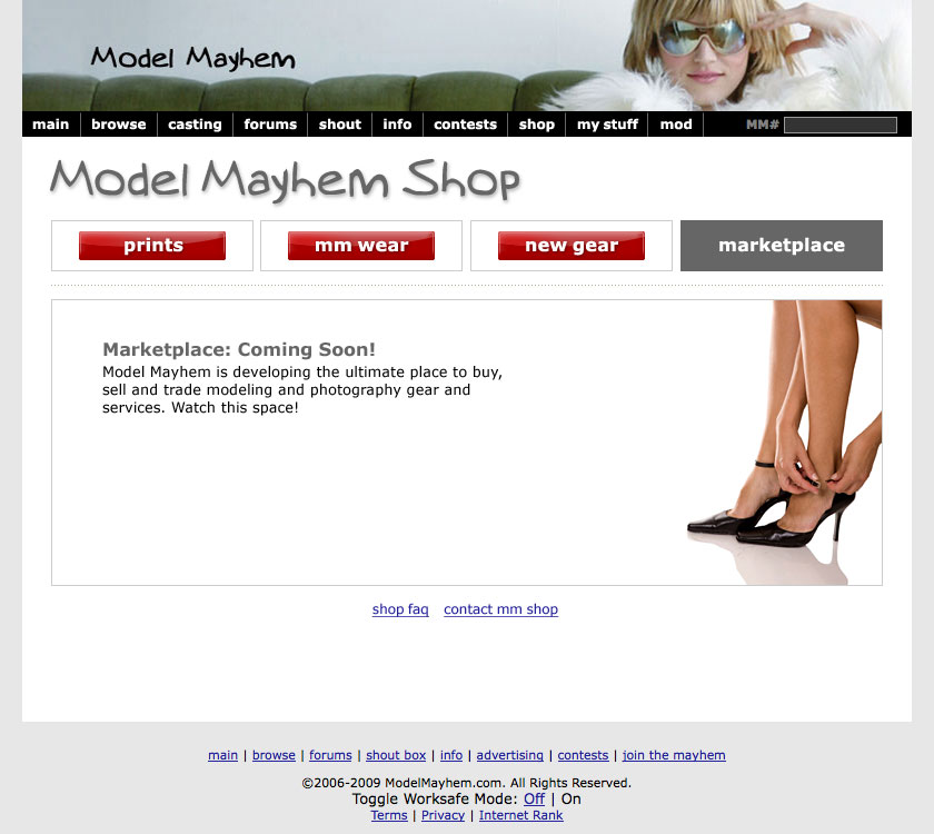 ModelMayhem shop website and interaction design (Marketplace placeholder)