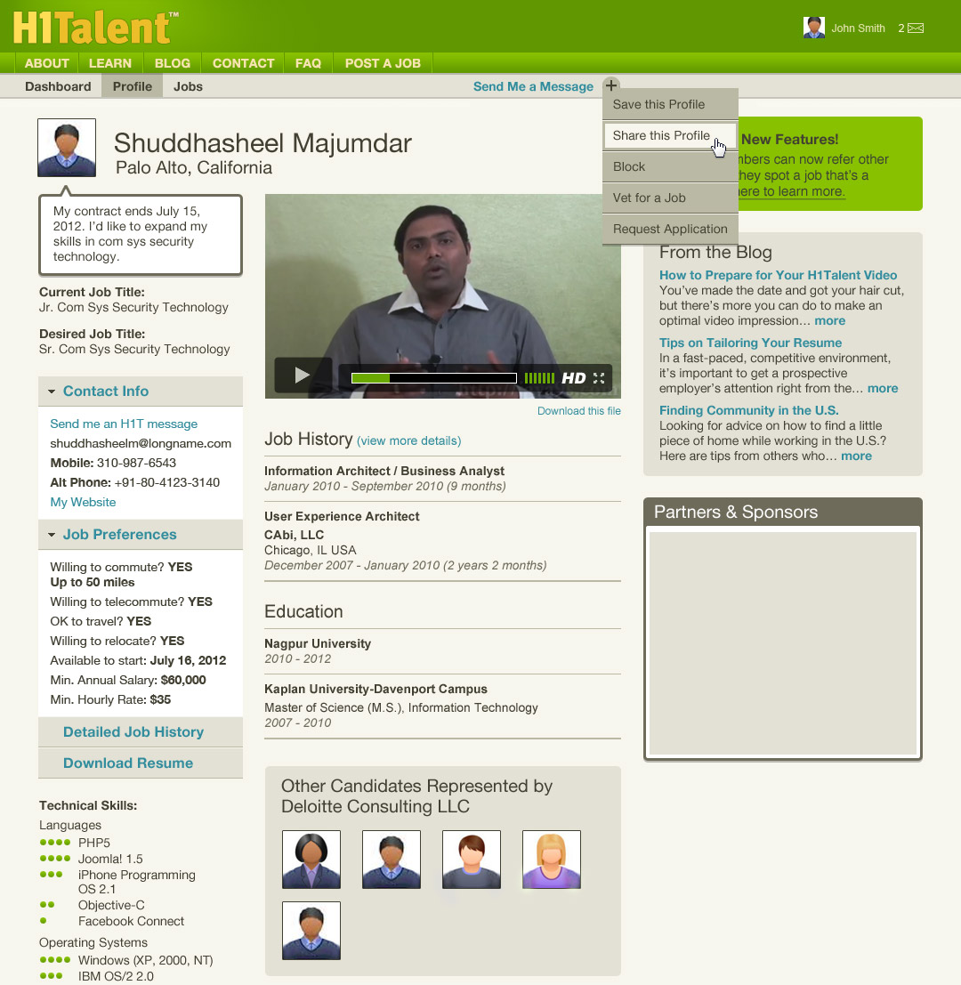 Product Development: H1Talent candidate profile page, design by Penina S. Finger