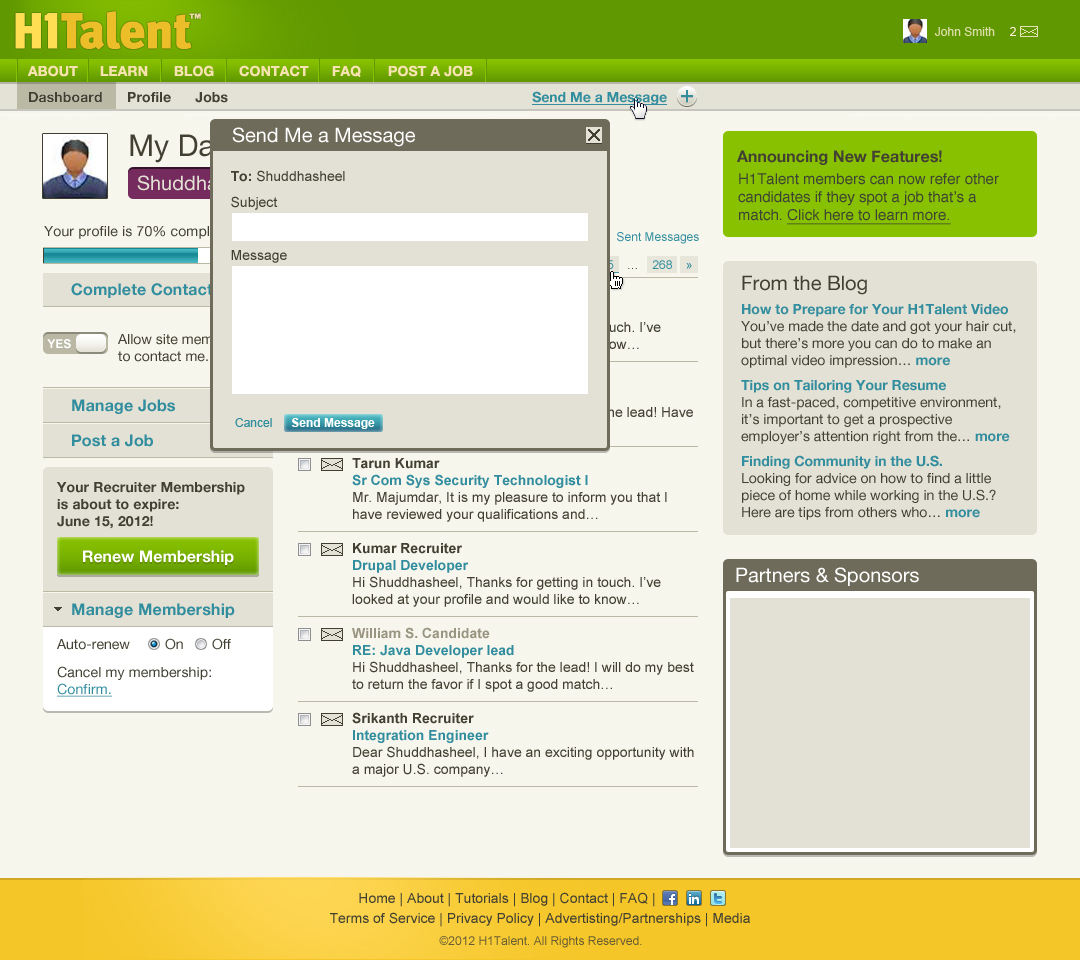 Product Development: H1Talent recruiter dashboard page, design by Penina S. Finger