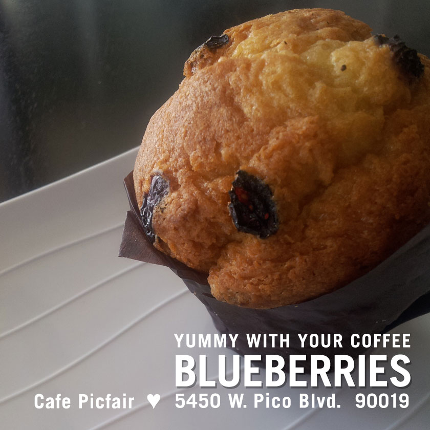 Blueberries, social media poster for a cafe by Penina S. Finger