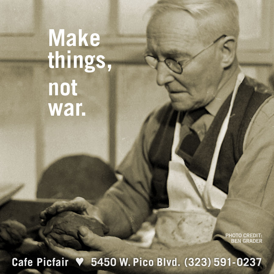 Make things not war, social media poster for a cafe by Penina S. Finger