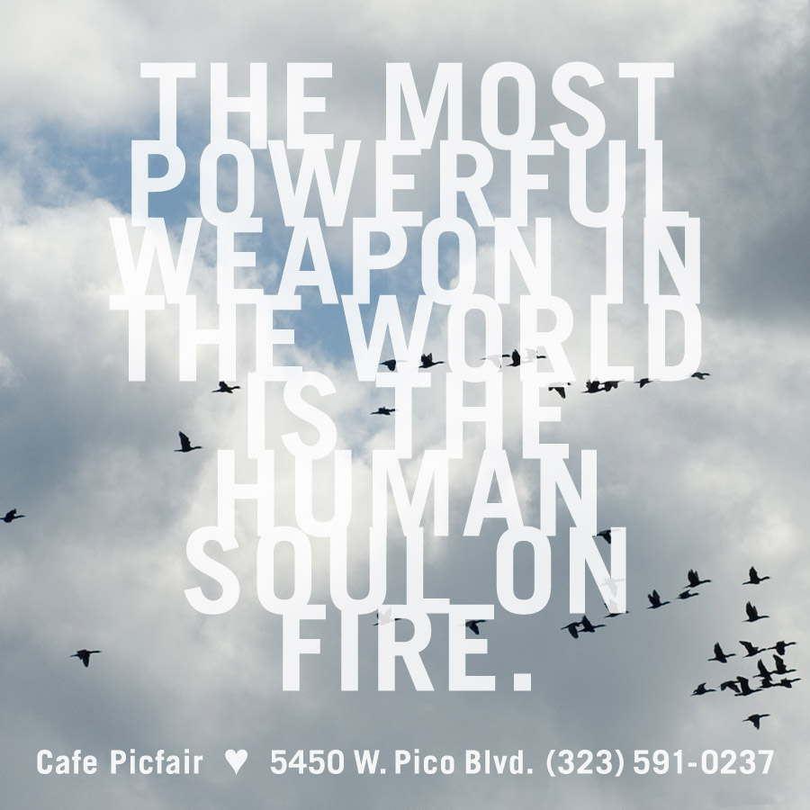 Soul on fire, social media poster for a cafe by Penina S. Finger