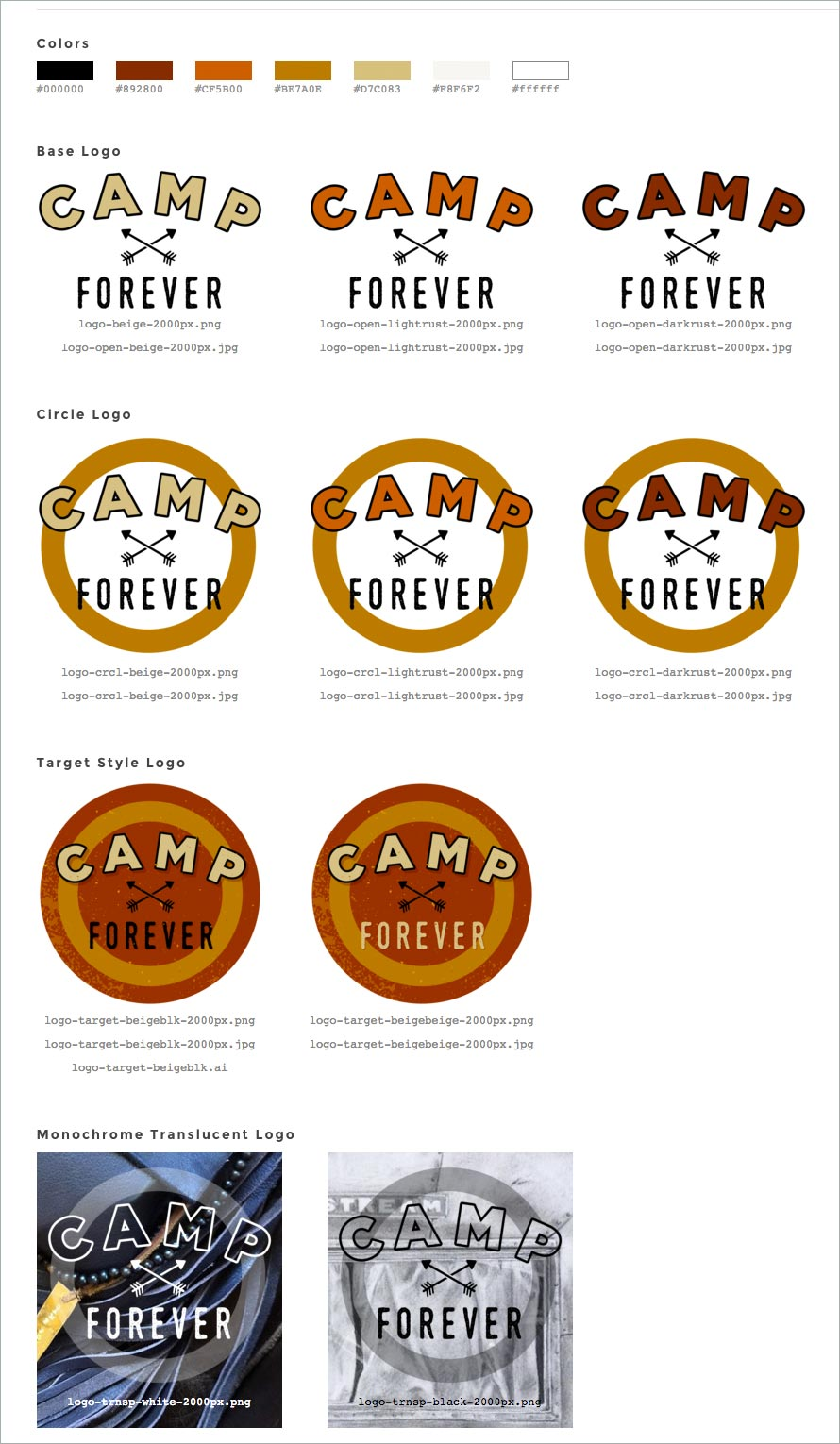 Business identity: Camp Forever logo and guidelines sheet, design by Penina S. Finger