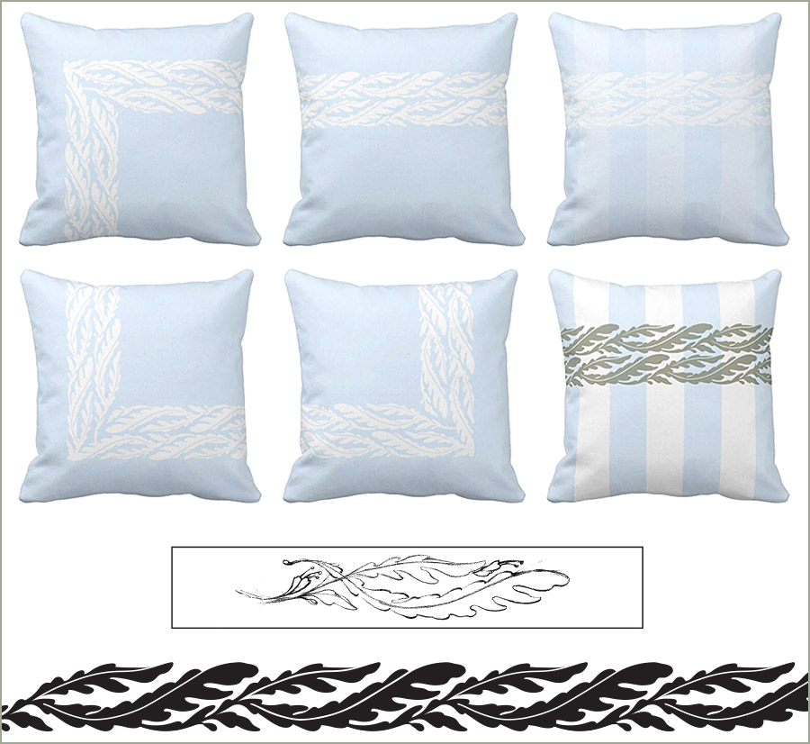 Long Ivy and Stripe pattern for home decor by Penina S Finger